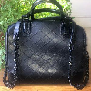 Alice+Olivia Quilted Leather Chain Bag Black